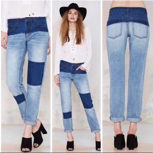 NWT Nasty Gal Dip Dyed Patch Boyfriend Jeans